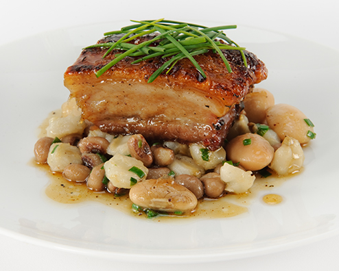 Makers mark candied pork belly with succotash fricassee 494x396