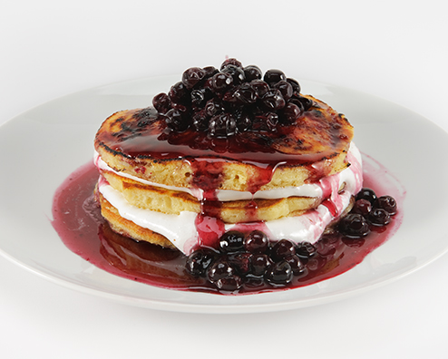 Makers mark morning after sugar crusted marshmellow pancake stack with bourbon blueberry compote and naughty syrup 494x396