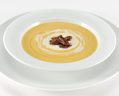 Butternut squash soup with makers mark creme fraiche 494x396