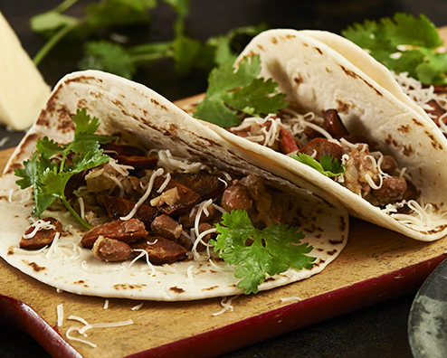 Makers mark bourbon bean and chorizo tacos 494x396