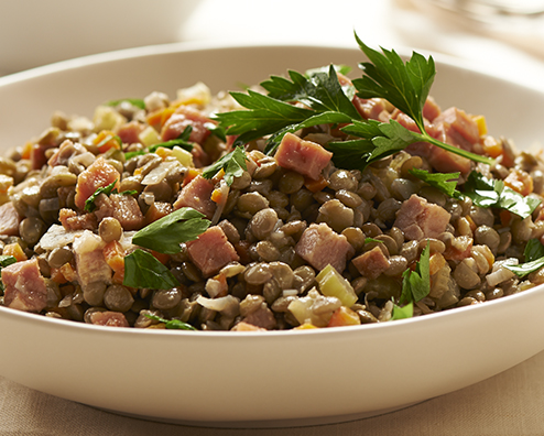 Makers mark french lentils with bourbon glazed ham 494x396